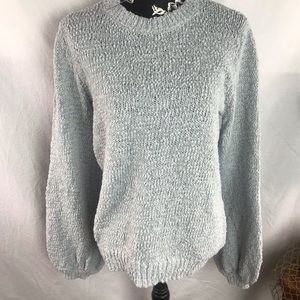 Leith pale blue sweater in bishop sleeve sz L